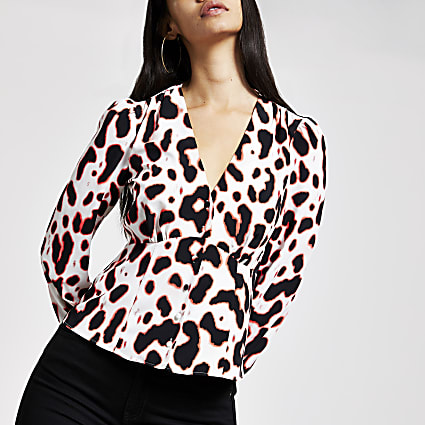 Cream leopard print tea top
