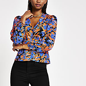 Blue print long sleeve tea top