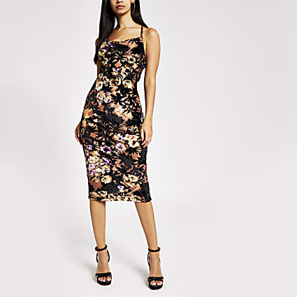 Black print cowl neck midi slip dress