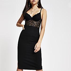 Robe ajustée noire style corset à lacets