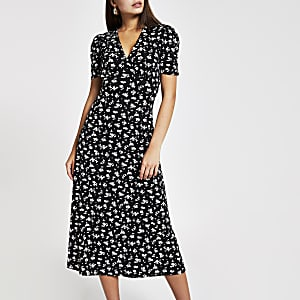 Black floral midi tea dress