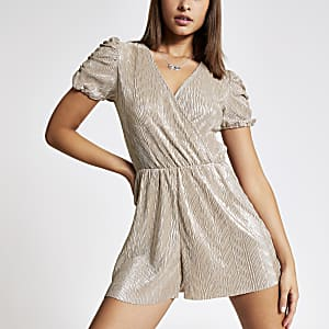 Gold metallic puff sleeve plisse playsuit