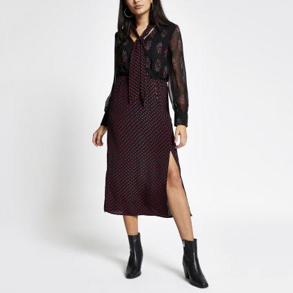Black paisley tie sheer sleeve midi dress