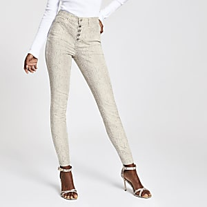Beige snake print Hailey high rise jeans
