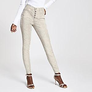 Hailey - Beige jeans met slangenprint en hoge taille