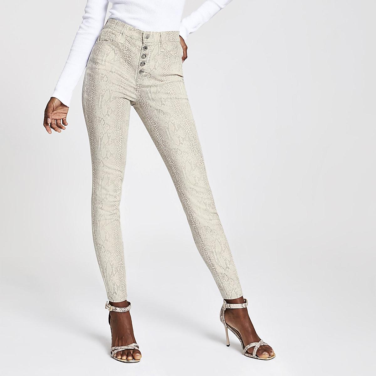 Hailey – Beige Jeans mit hohem Bund