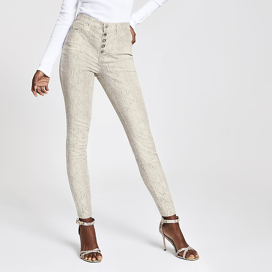 Beige snake print Hailey high rise jeans