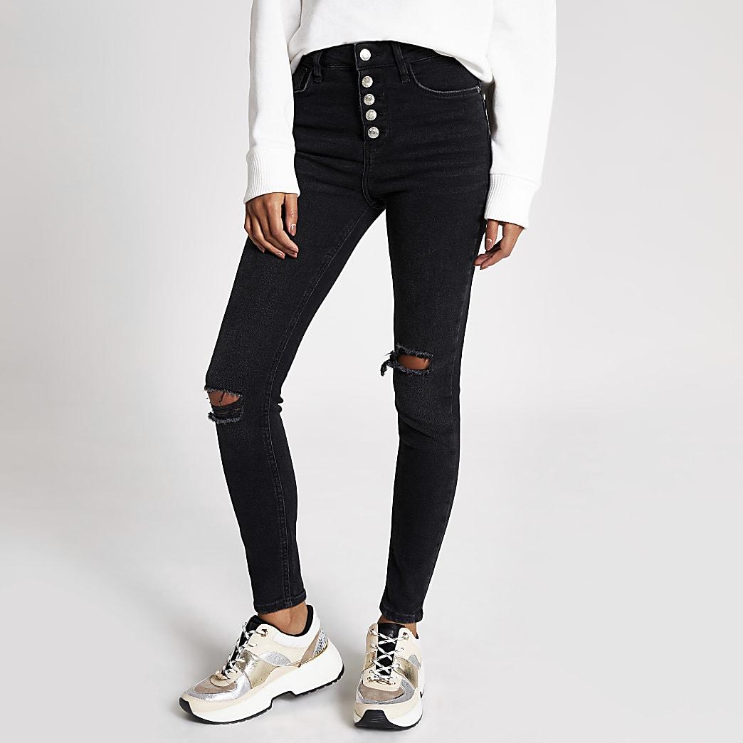 Hailey – Jean taille haute noir aspect usé