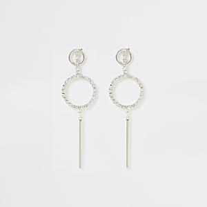 Rose gold diamante pave ring bar earrings