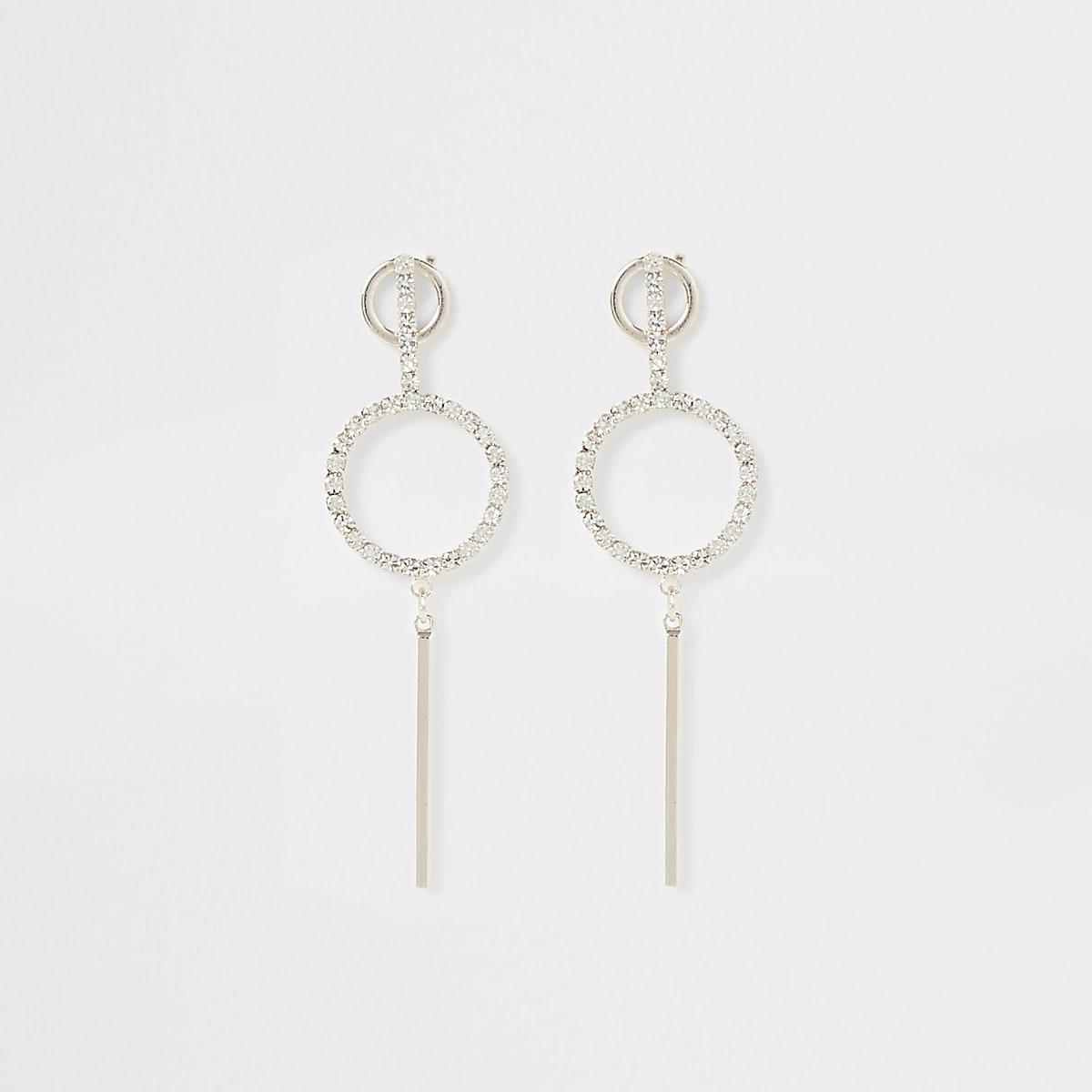 Rose gold rhinestone pave ring bar earrings