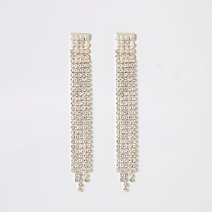 Rose gold color rhinestone paved drop earrings