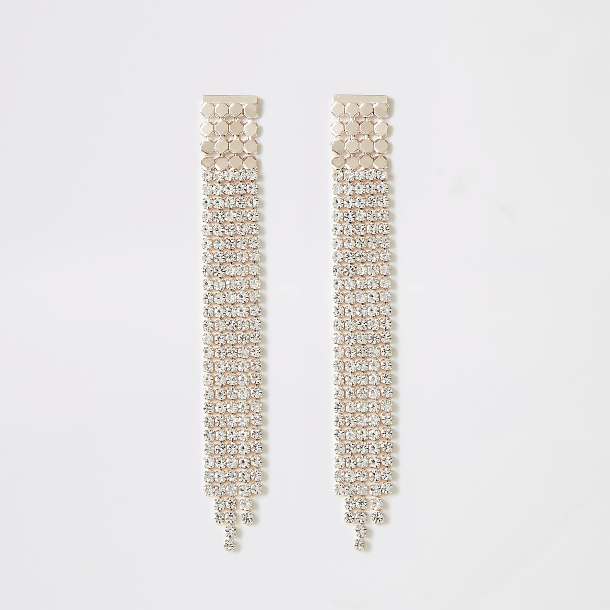 Rose gold colour diamante paved drop earrings