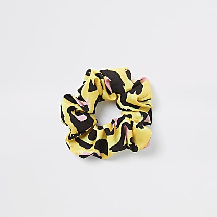 Yellow leopard print scrunchie