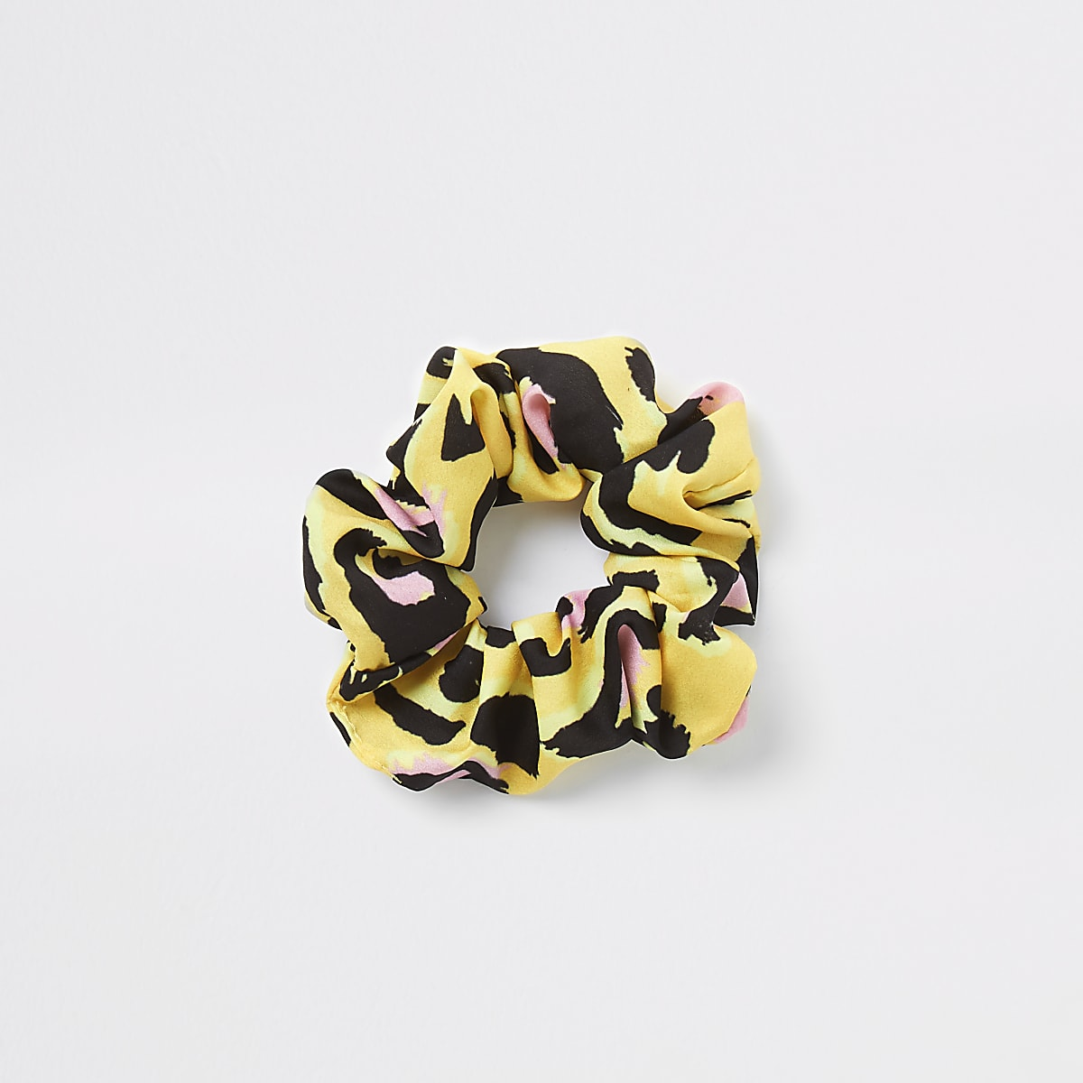 Yellow leopard print scrunchie