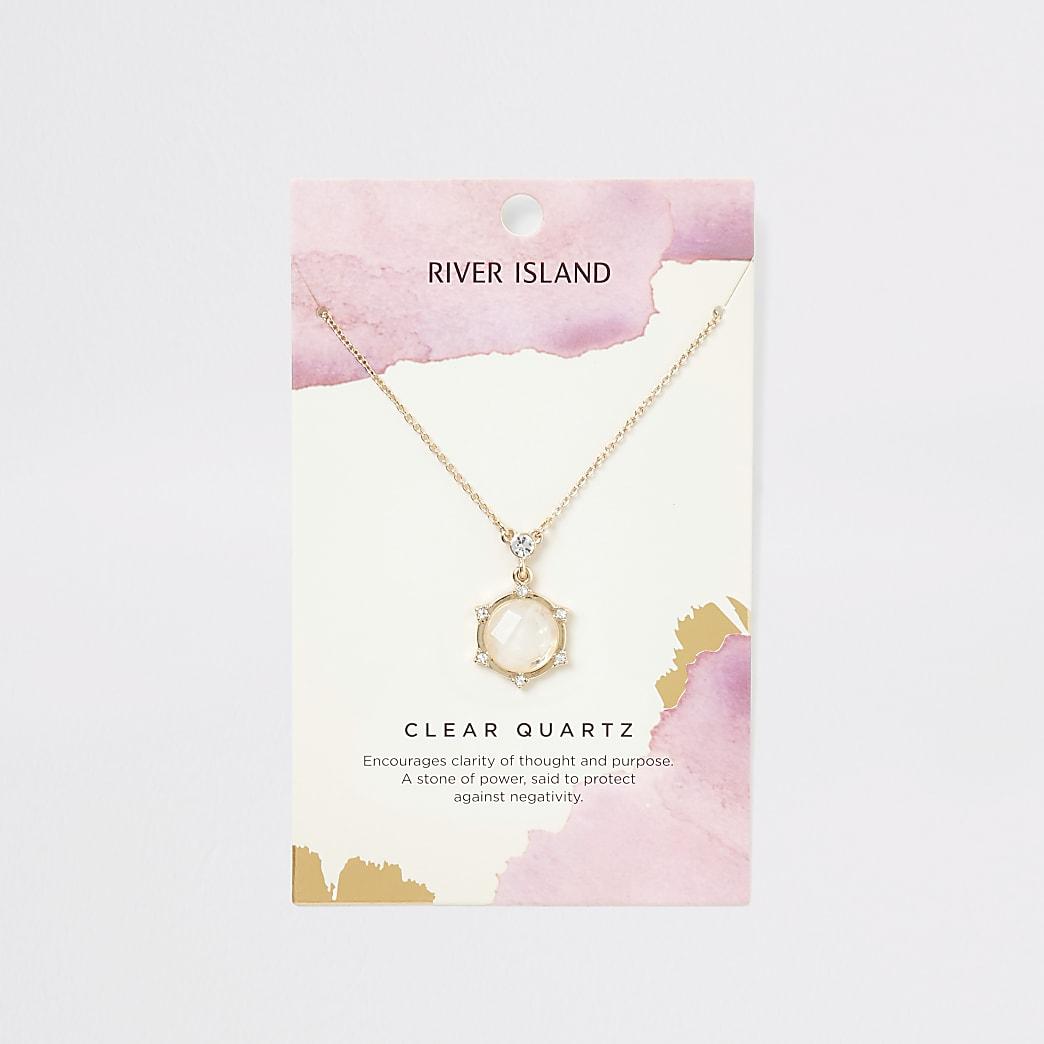 Gold colour clear quartz necklace