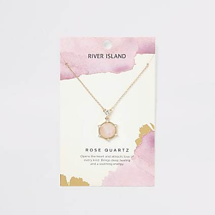 Gold colour rose quartz necklace