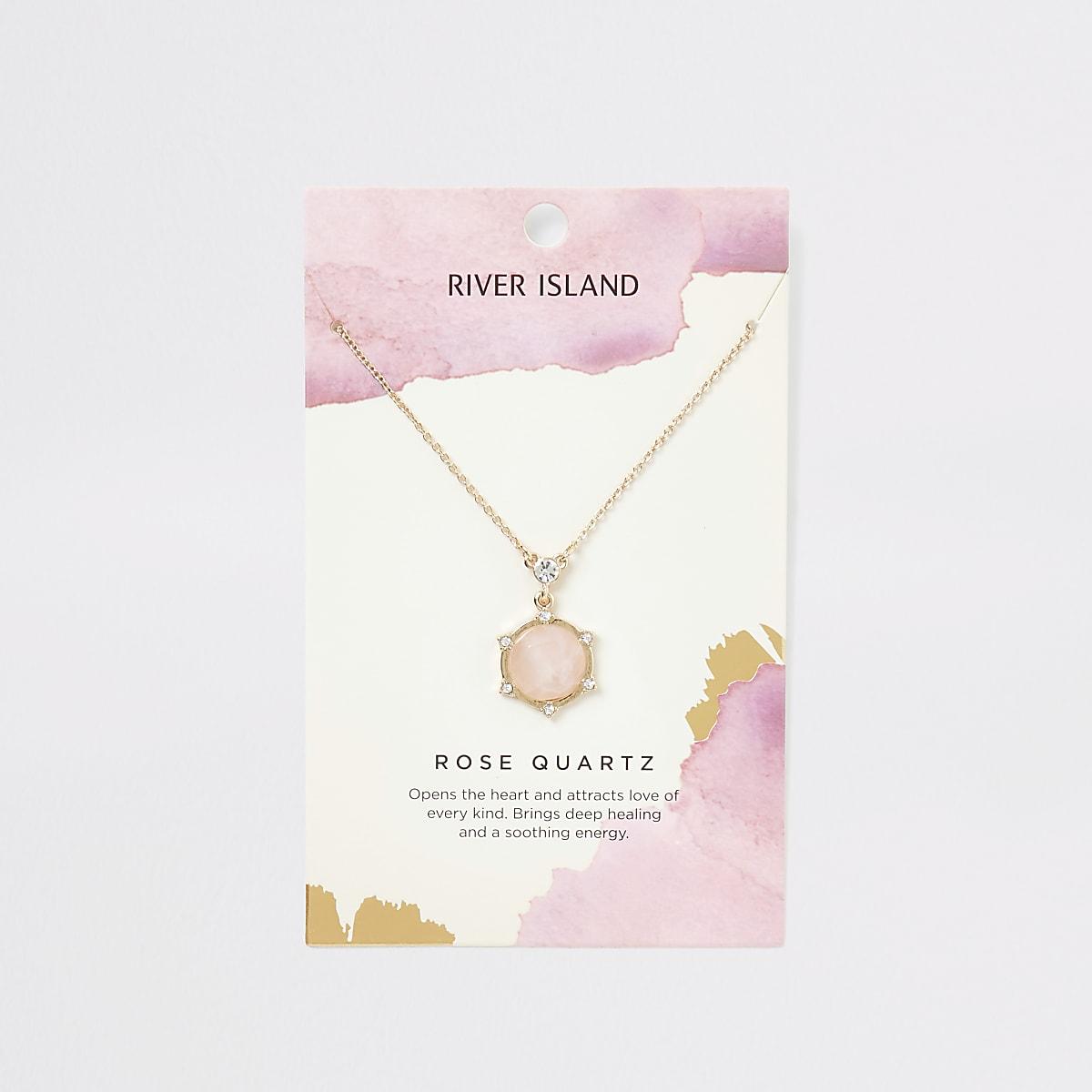 Gold colour rose quartz necklace