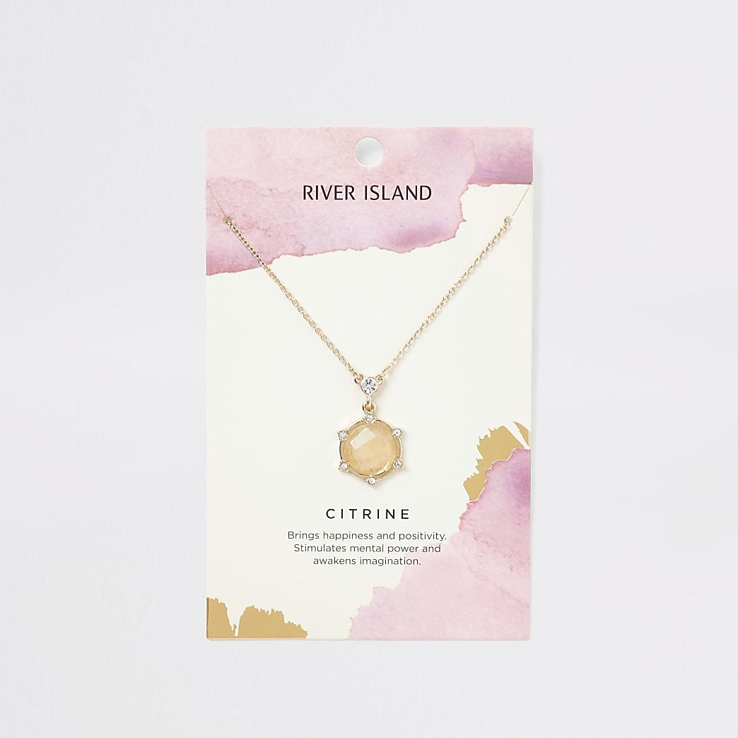 Gold colour citrine necklace