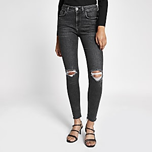 Amelie – Graue Super Skinny Jeans im Used-Look