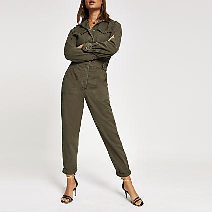 Khaki twill utility boiler jumpsuit