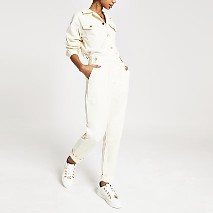 White twill utility boiler jumpsuit