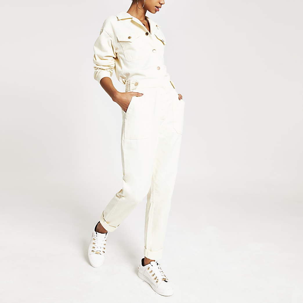White twill utility boiler jumpsuit