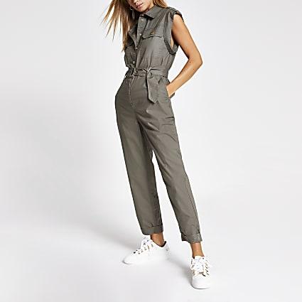 Khaki tie waist utility boiler jumpsuit