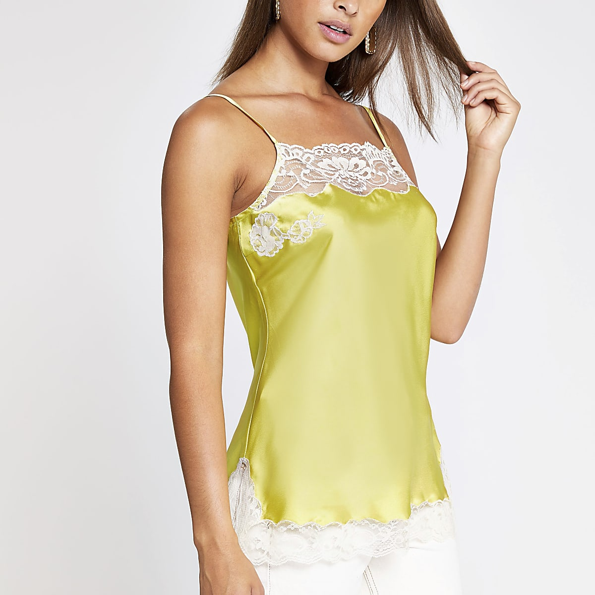 Yellow Lace Trim Satin Cami Top