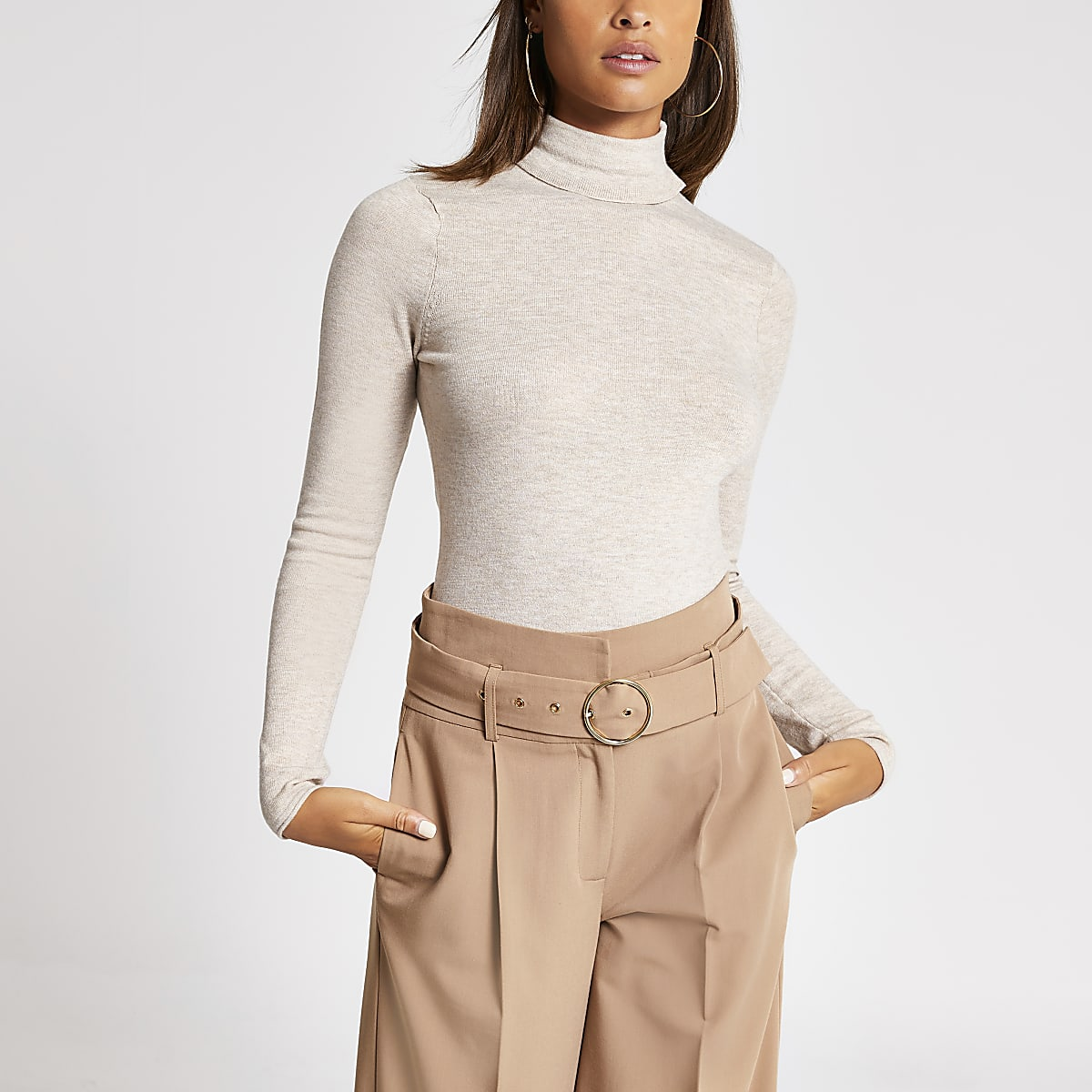 Light brown long sleeve roll neck knitted top