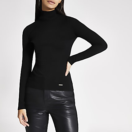 Black long sleeve roll neck knitted top