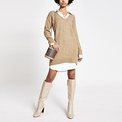 Brown knitted long sleeve jumper shirt dress