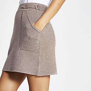 Mini-jupe fonctionnelle en maille marron