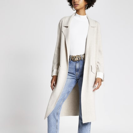 Cream knitted duster jacket
