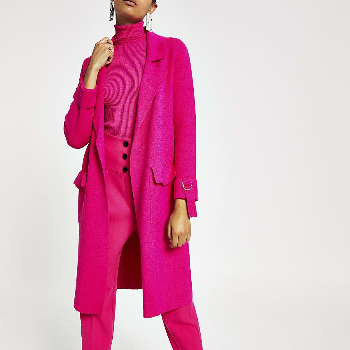 Veste longue en maille rose vif