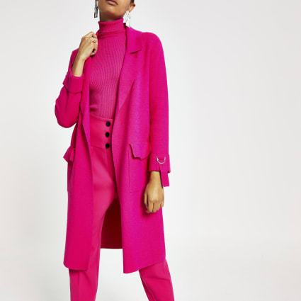 Bright pink knitted duster jacket