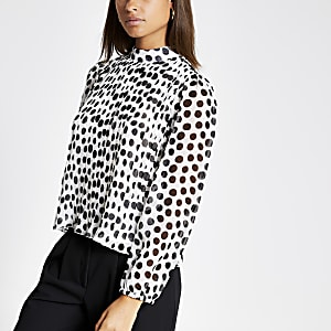 Black spot print pleated long sleeve top