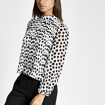 Black polka dot pleated sheer sleeve top