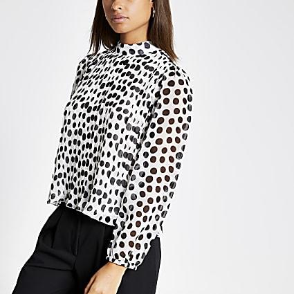 Black polka dot pleated long sleeve top