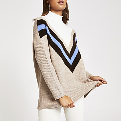 Beige chevron stripe high neck knitted jumper
