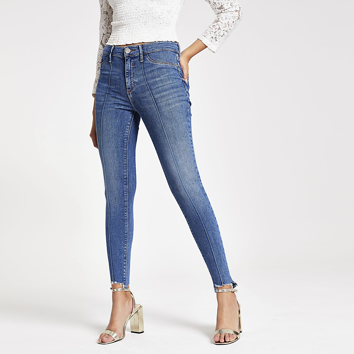 Molly jegging met halfhoge taille in mediumblauw