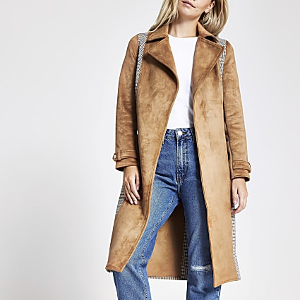 Petite brown check belted trench coat