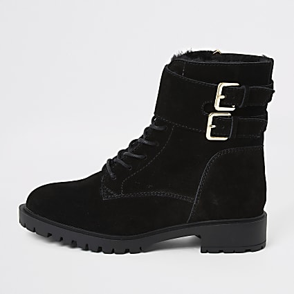 Black suede lace-up ankle cuff chunky boots