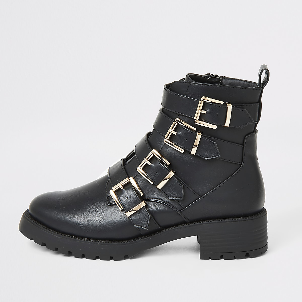 Black buckle strap chunky ankle boots