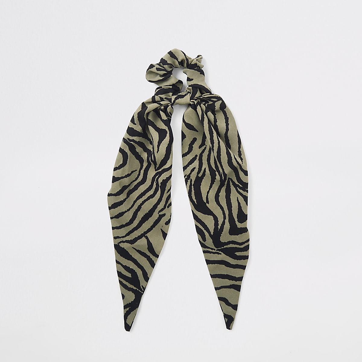 Green zebra print scarf scrunchie