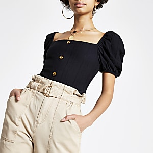 Black broderie puff sleeve top