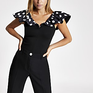 Black polka dot frill top