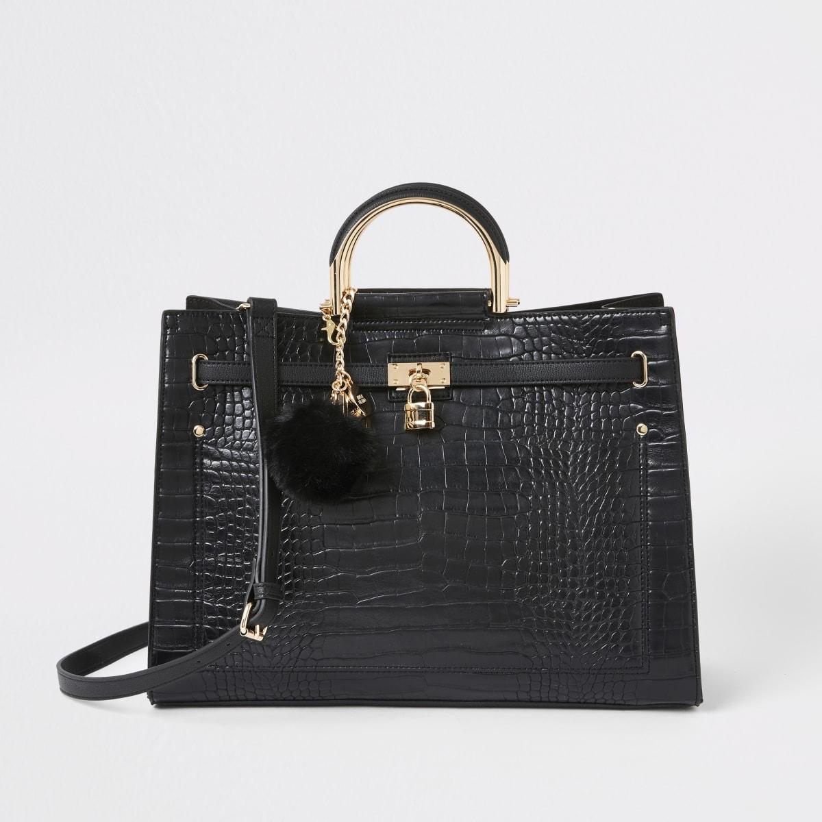 Zwarte handtas met krokodillenprint en hangslot voor
