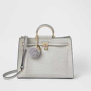 Light grey croc padlock front tote bag