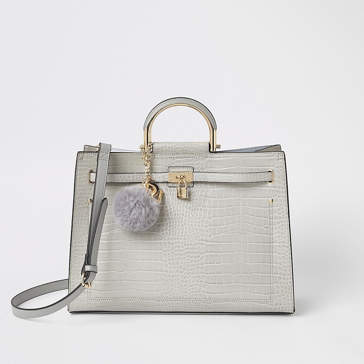 Light grey croc padlock front tote bag