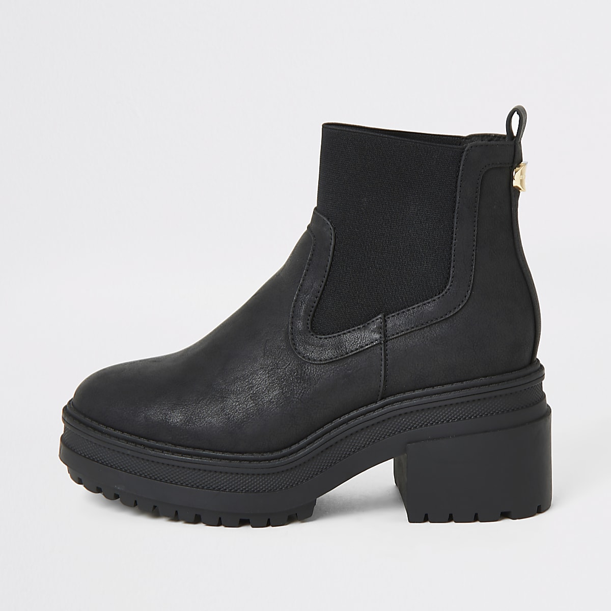 Black elasticated chunky chelsea boots